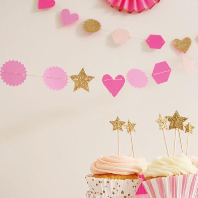 Pink & Gold Mini Garland by Meri Meri Toot Sweet, Star & Hearts Party Bunting