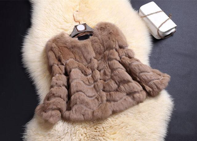 Women's Wave Farm 100% Real Rabbit Fur Coat Jacket Outwear Lowest Price