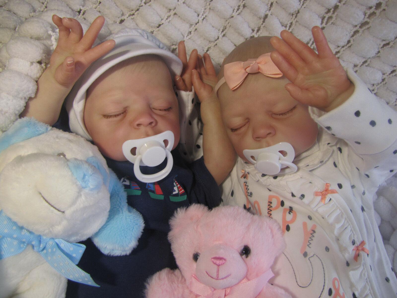 Bambola realistica neonato Eva Helland Reborn sunbeambabies dipinti a mano morbido vinile