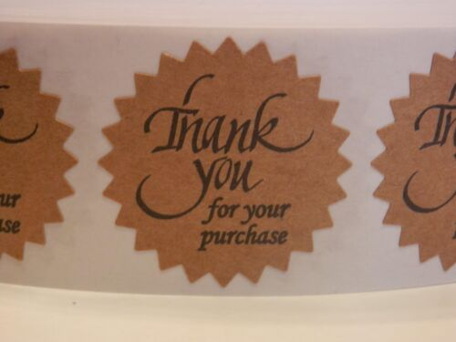 "Thank You For Your Purchase Label Sticker 1.5"" Starburst brown kraft bkg 250rl"