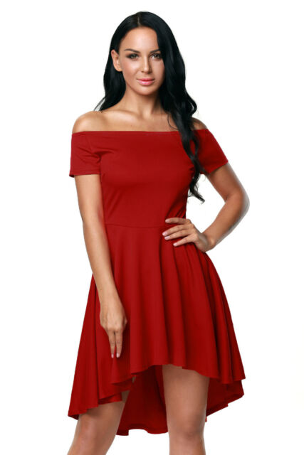 Boldgal Partywear Red Women Evening Western Cocktail Club Skater Dress