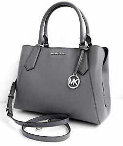 Details about Michael Kors Bag Handbag Kimberly LG Ew Satchel Leather Heather Grey New