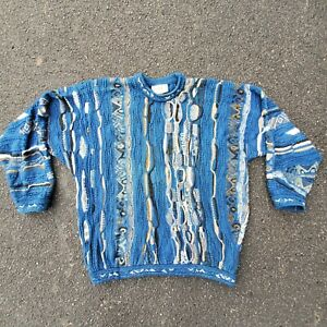 Vintage-COOGI-Blues-abstrakte-Pullover-2xl-3d-strukturiert-blau-Australien-Bill-Cosby-Biggie