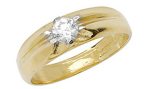 9ct-Yellow-Gold-Solid-Baby-Children-039-s-Cubic-Zirconia-CZ-Solitaire-Ring-NEW