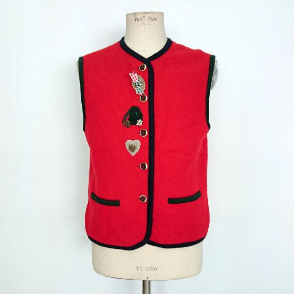 100% De Calidad Gilet Tirolese Vintage Donna Distler In Pura Lana Vergine Tg.42 Art.8596