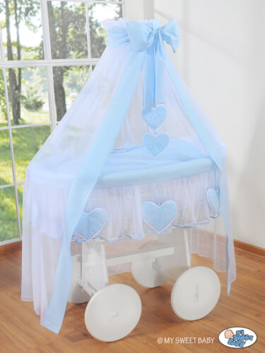 CANOPY NEW WHITE WICKER CRIB MOSES BASKET SOLID WHITE WOOD BASE /& BEDDING SET