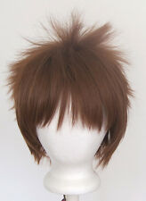 13'' Spiky Short Auburn Brown Synthetic Cosplay Wig NEW