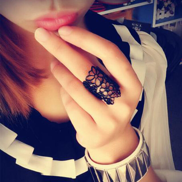 Charming Fashion Design Bohemian Style Golden Hollow Out Flower Ring Size