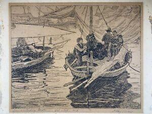 j olaf olson Vintage Signed Etching Art Print No 1/700 Spanish Fishing Boat c289