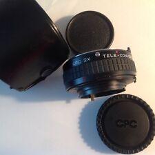 CPC 2X Tele-Converter MC. M/MD with Leather Case, 2 Caps, Fits Minolta