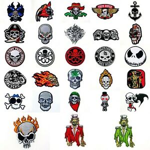 Biker Cross With Skulls 8.5cm x 8.5cm Patch Embroidered Sew or Iron on Badge