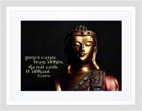 PEACE COMES FROM WITHIN BUDDHA STATUE QUOTE TYPOGRAPHY FRAMED PRINT B12X13823