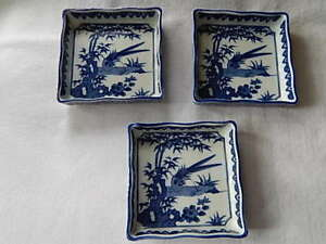 3 Square Blue/White Japanese Bowls-Beautiful & Bowls u0026 Plates