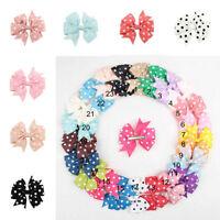 24ps Colors Lot Boutique Hair Bows Clip Baby Alligator Grosgrain Ribbon Headband