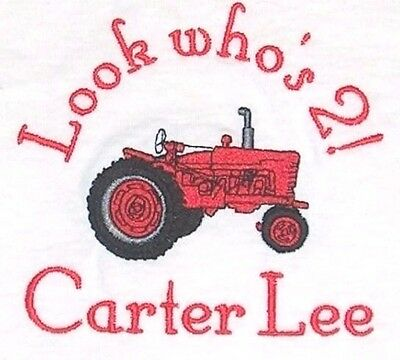 Personalized BARN FARM TRACTOR INITIAL Name Baby Creeper One Piece T Shirt
