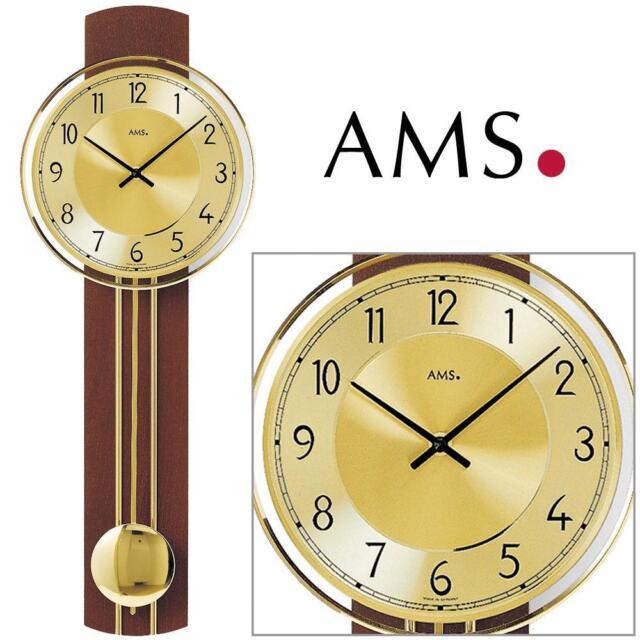 AMS 7115/1 Wall Clock Pendulum Solid Wood Quartz Watch Living Room