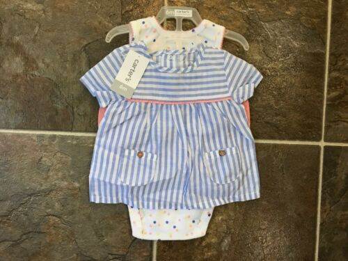 NWT CARTERS Girls 3-piece outfit Baby Blue peach Size 9M