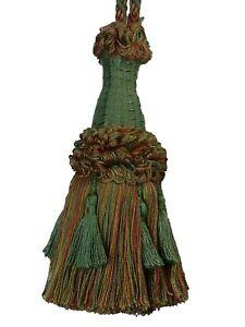 Conso Empress Collection 21947 Decorative Furniture Drapery Curtain 6 Tassel Tieback Color W123 Mingled CEDAR GREEN CAMEL Brown Clay