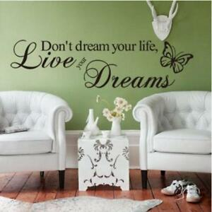 Mural-Wall-Stickers-Word-Live-Your-Dream-Art-Butterfly-Wall-Sticker-Proverbs-LP