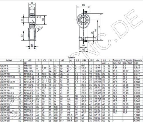 10x M6 Uniballgelenk Gelenkkopf Gelenklager Kugelgelenk M 6 innen Neu Top CB10