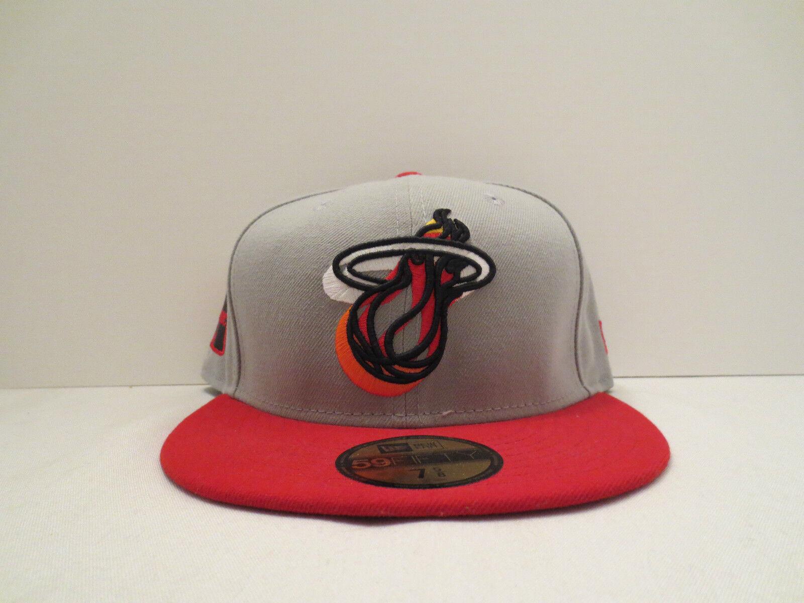 NEW ERA NBA MIAMI HEAT NEON LOGO POP CAP FITTED CAP POP HAT SIZE 7 3/4 NWT GREY RED NWT 5da5e1