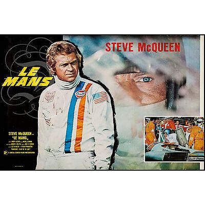 PLAQUE ALU DECO REPRO AFFICHE LE MANS STEVE MCQUEEN PORSCHE COURSE RACE 1971