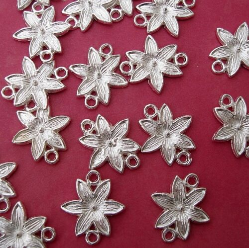 Connector Link Flower  Silver Plated 10pcs.