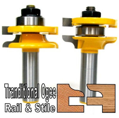 "2pc 1/2""SH Traditional Ogee Rail & Stile Router Bit Set sct-888"