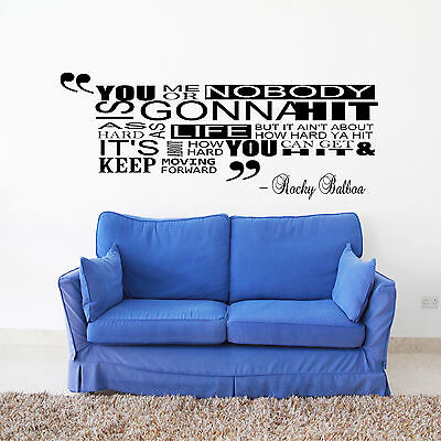 Rocky Balboa alt Inspirational Quote Wall Sticker Bedroom Vinyl Decal film movie