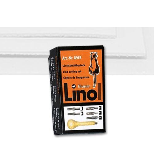 Linolschnittbesteck Brause 891B Handgriff und 5 Klingen