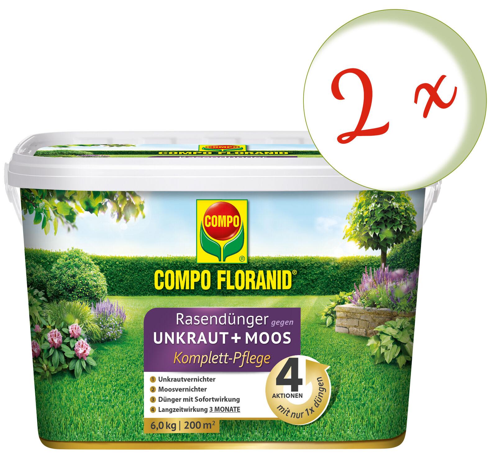 Sparset  2 X Compo Floranid Fertilizante contra Mala Hierba + Musgo Atención