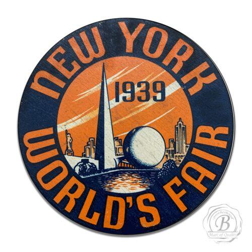 Vintage Design Round Sign Metal Decor Round 1939 New York World/'s Fair