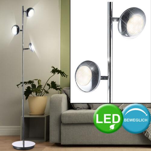 LED 15W Decken Fluter Retro Strahler Stand Lampe Chrom Boden Steh Lese Leuchte