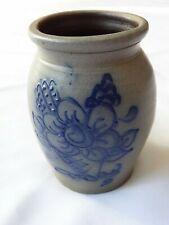 Vintage 1992 Rowe Pottery Works Salt Glaze Crock With Floral Design