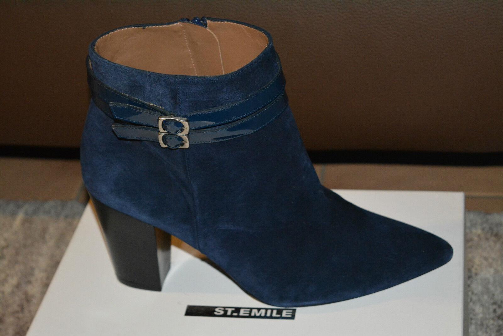 Original Stiefel, St.Emile Damen Stiefeletten, Stiefel, Original Veloursleder, Dk.Blau Gr.41 Neu 7fa93b