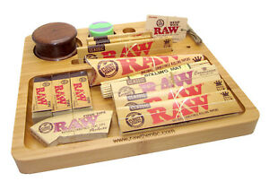 Raw Wooden Rolling Tray Set King Size Papers Pre Rolled