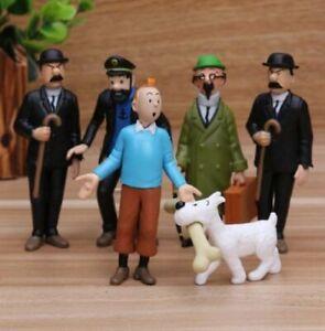 The Adventures of Tintin 3″ Figures Figurines 6pcs//set Christmas Gift Cake Doll