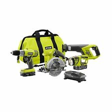 Ryobi 18-Volt Lithium-Ion Combo Power Tool Kit Saws/Drill Light (4-Piece Set)