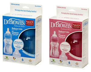 Dr-Browns-Natural-Flow-8oz-240ml-Pink-Blue-Wide-Neck-Baby-Bottle-TWIN-PACK