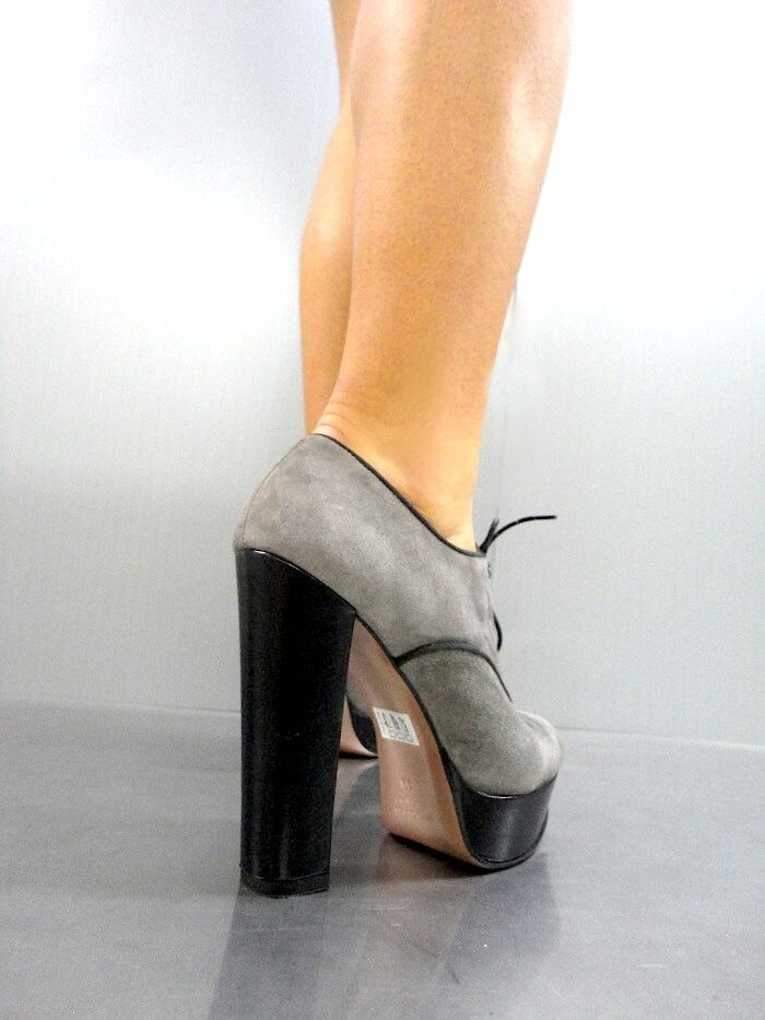 MORI ITALY SEXY HIGH PUMPS HEELS ANKLE Schuhe BOOT STIEFEL PUMPS HIGH LEATHER GREY GRIGIO 39 fc48b9