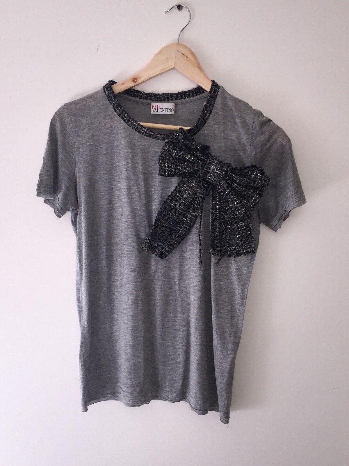 rot Valentino grau Tweed Bow T Shirt