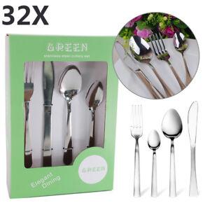 32-piezas-Conjunto-de-Cubiertos-De-Acero-Inoxidable-Cuchillos-Tenedores-Cucharas-Cucharillas