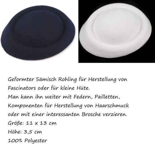 Hutgrundlage Base Fascinatorunterlage fascinator nachtblau weiß Rohling Hut Hat