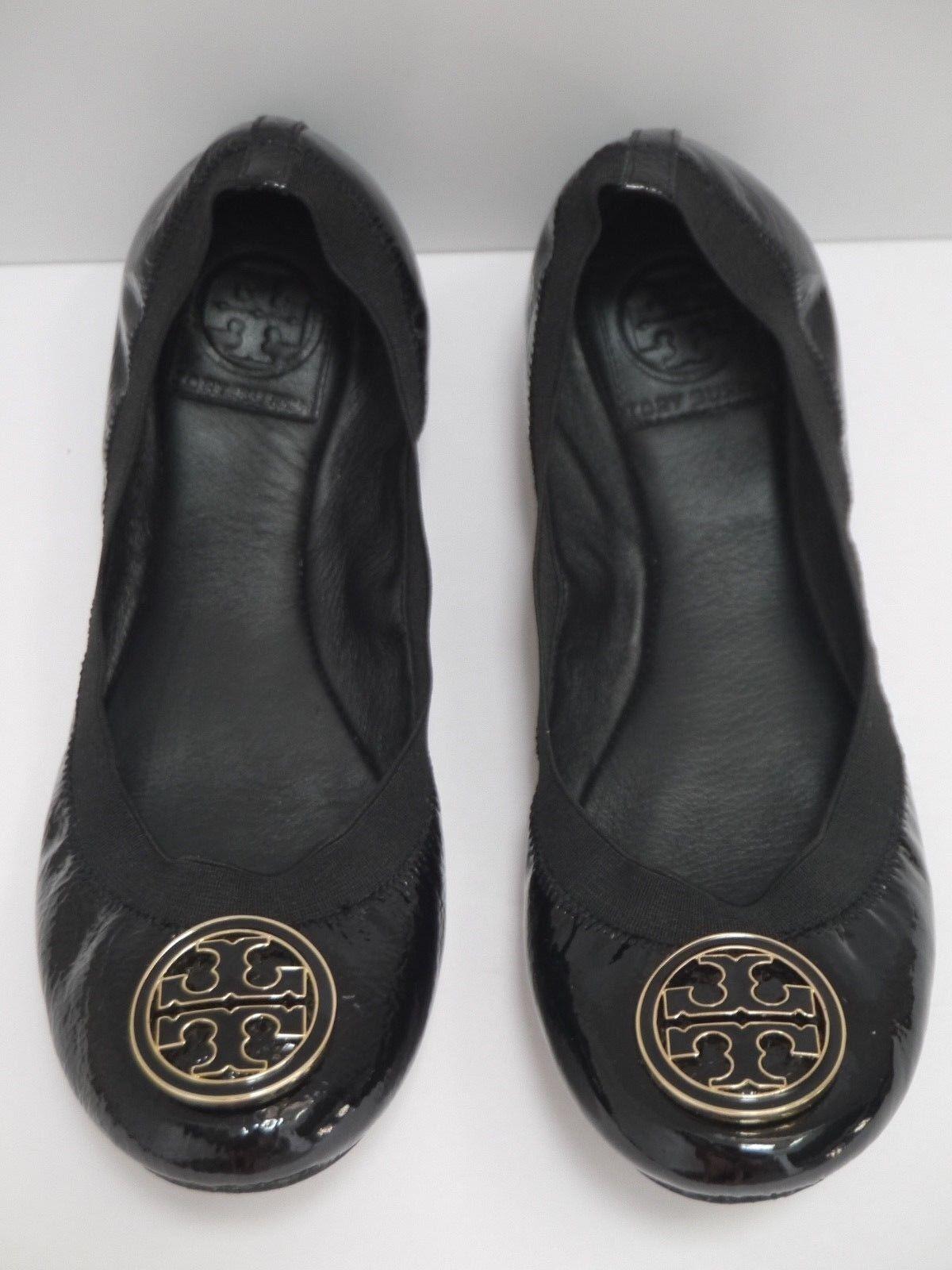 TORY BURCH Caroline black patent leather logo toe detail ballet flats size 8 M