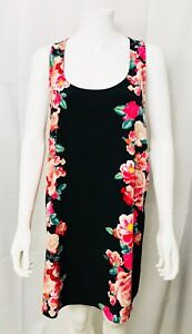Forever-21-Dress-Sleeveless-Floral-Shift-Scoop-Neck-Black-Tropical-size-Large