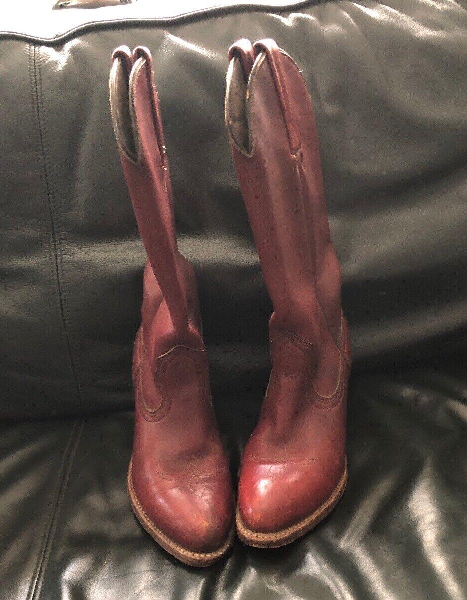 Vintage Frye Cowboy bottes frye Talon Haut Femme Cowgirl Bottes Ranch bottes 5