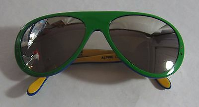 Vintage CEBE Alpine Crafts France Mirrored Ski Sunglasses Green Yellow  Leather c59cd2e964