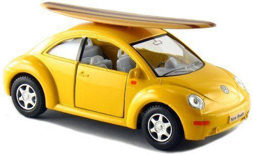Kinsmart 5 Volkswagen New Beetle w/ Surfboard 1:32 Diecast Model Toy VW Yellow