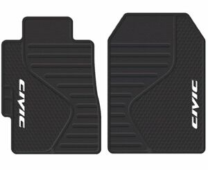 Details About Floor Mats Set 1997 2019 Honda Civic Logo Front Rubber Liners Black All Weather