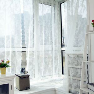 Lace-Floral-Door-Window-Curtain-Room-Drape-Panel-Voile-Tulle-Sheer-Scarf-Valance